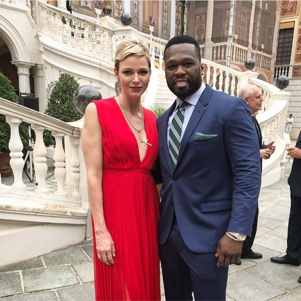 50 Cent Pictured With Prince Albert of Monaco And Princess Charlene of Monaco (2)