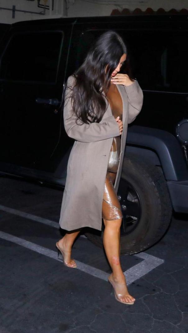 Kim Kardashian Rocks See Through PVC Dress (3)