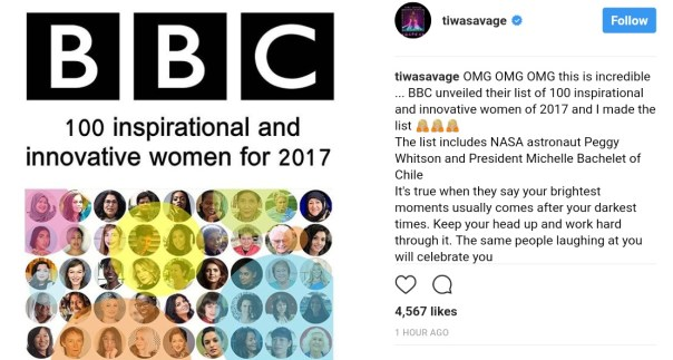 Tiwa Savage Included In BBC's 100 Inspirational & Innovative Women For 2017 (1)