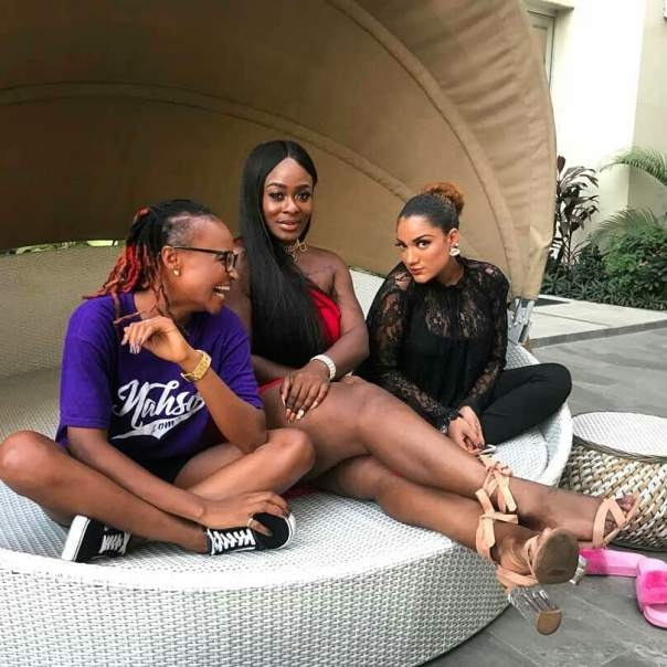 Ex Big Brother Naija Stars Marvis Nkpornwi Caught On Camera Laughing Uncontrollably Alongside Gifty Powers And Uriel Oputa On Girls Day Out (2)