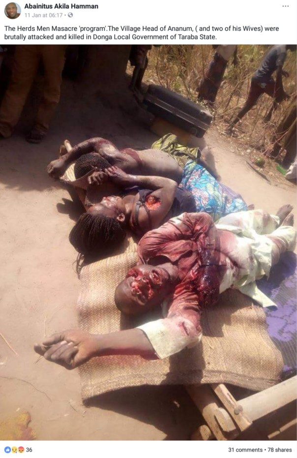Village Head And His Two Wives Were Brutally Killed By Suspected Fulani Herdsmen (2)