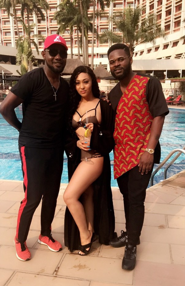 AY Comedian And Falz Pictured With Rosy Meurer On Set Yoruba Demons (2)