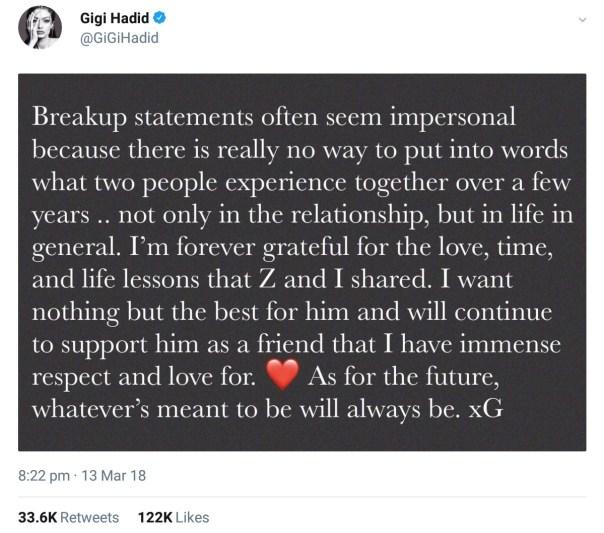 Zayn Malik And Gigi Hadid Confirm Split (2)
