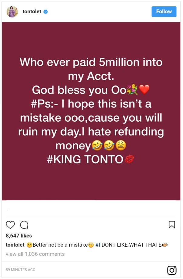 Tonto Dikeh Raises Alarm After Mysterious N5million Is Paid Into Her Account (2)