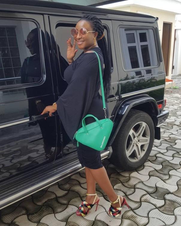 Ini Edo Steps Out Rocking Her Balenciaga Triangle Handbag (2)