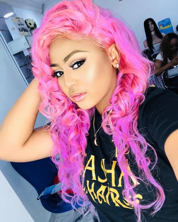 Regina Daniels Rocks Pink Hair