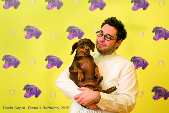 Portrait of MCA artist David Capra and his dog Teena. The Museum of Contemporary Art Australia celebrates the launch of artist David Capra's playful and vibrant 2015 Bella Room Commission, which invites visitors to join in giving Teena the sausage dog a bath. May 25, 2015. Photo by Anna Kucera