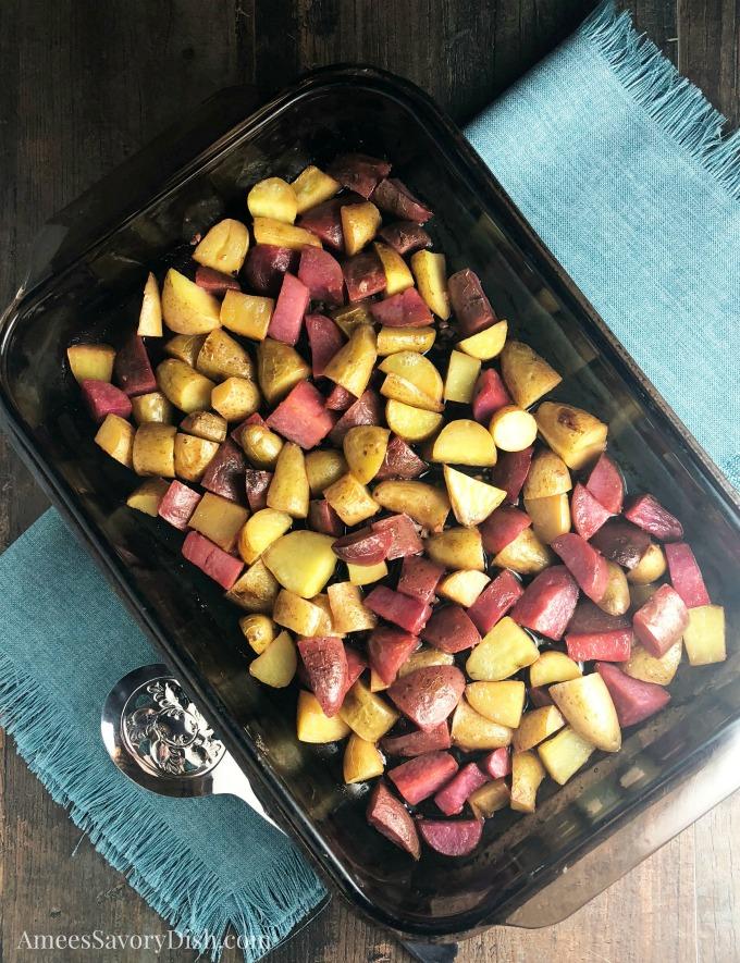 Lemony Garlic Roasted Fingerling Potatoes