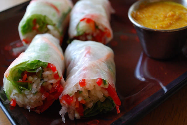Spring rolls with carrot ginger sauce recipe