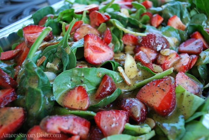 Strawberry Spinach Salad with Agave Poppyseed Dressing