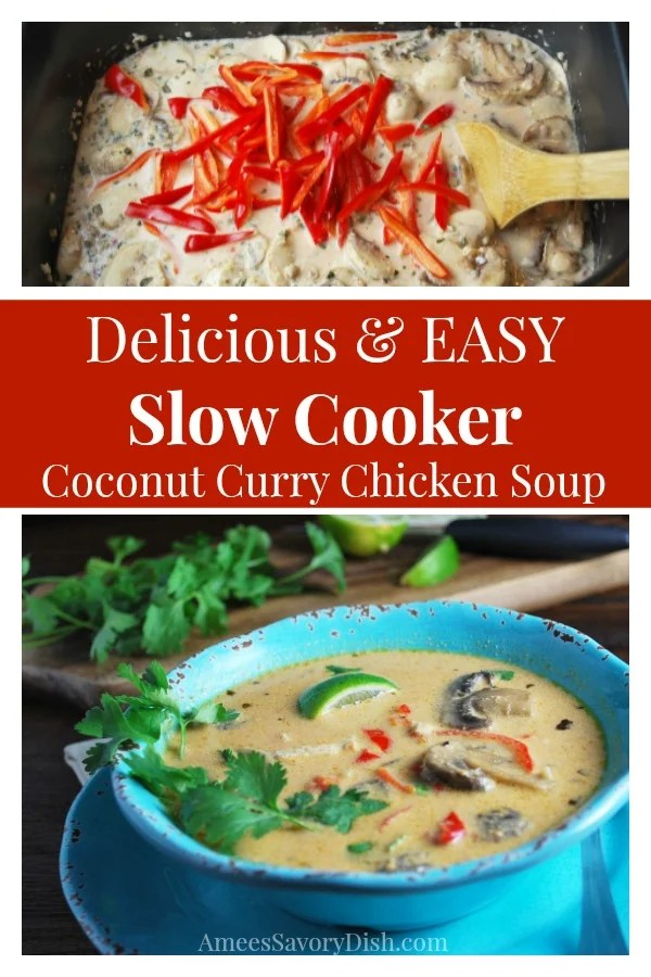 Crockpot Coconut curry chicken soup is so full of flavor, it will rock your taste buds!! I love this slow cooker recipe for a flavorful soup that makes a comforting wintertime meal