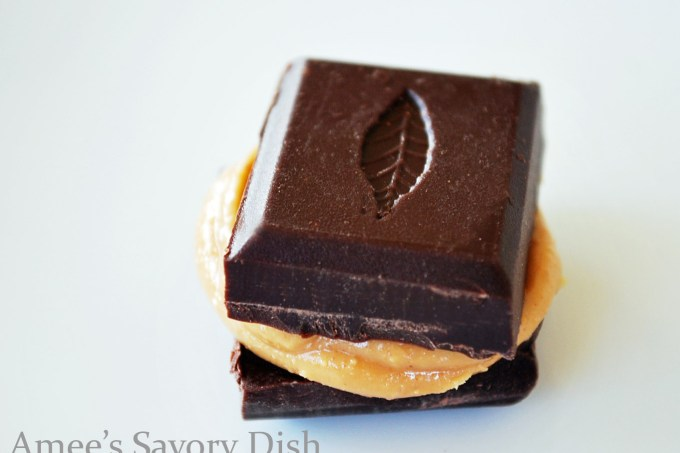 Dark Chocolate from Kallari, smeared with almond butter