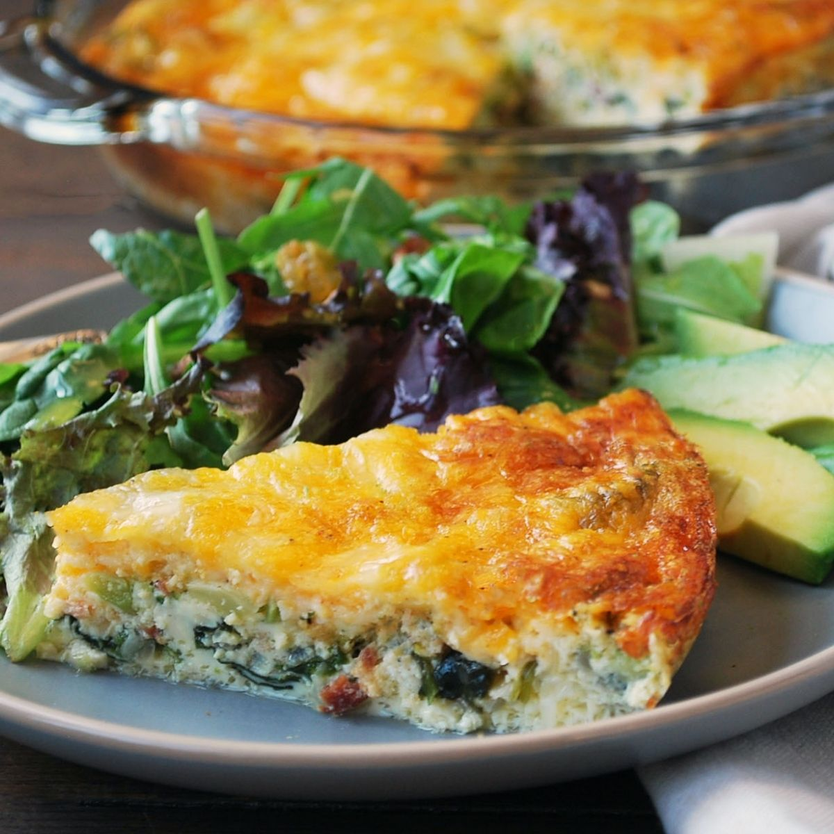 Low-Carb Loaded Crustless Quiche| Keto Recipe - Amee's Savory Dish