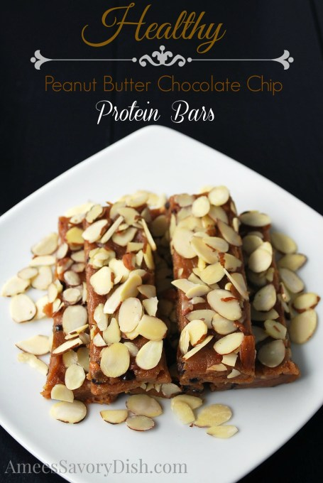 Peanut Butter Chocolate Chip Protein Bars are a healthy breakfast recipe, also perfect for snacks on the go or a light dessert!