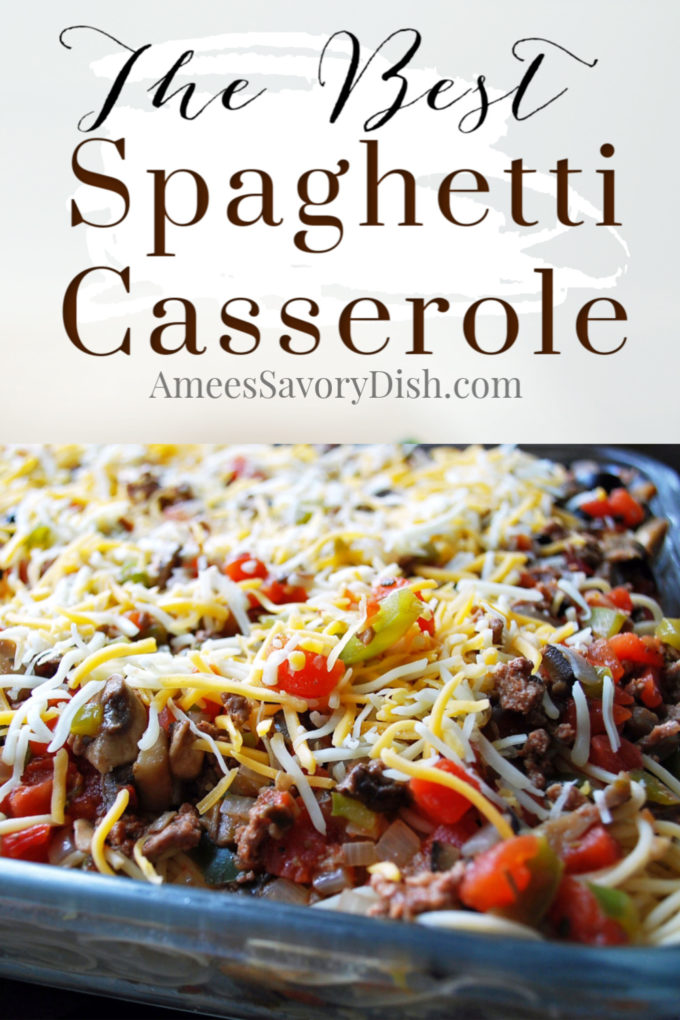pan of baked spaghetti casserole ready to bake