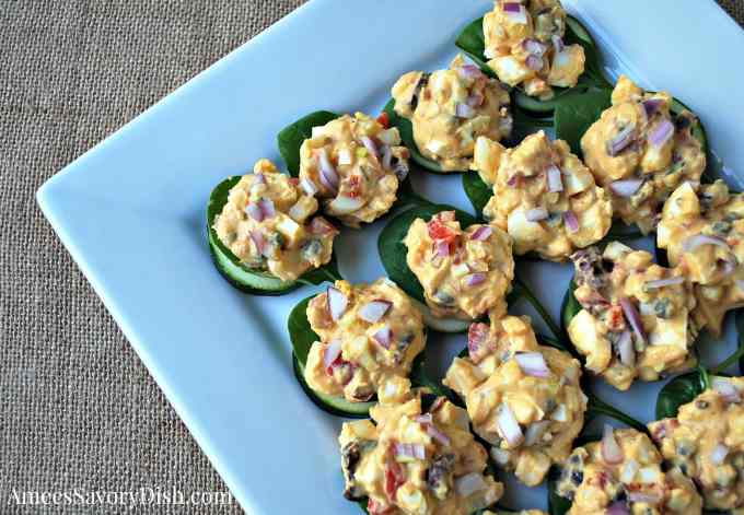 Tasty Mediterranean Egg Salad Bites with Zucchini and Spinach
