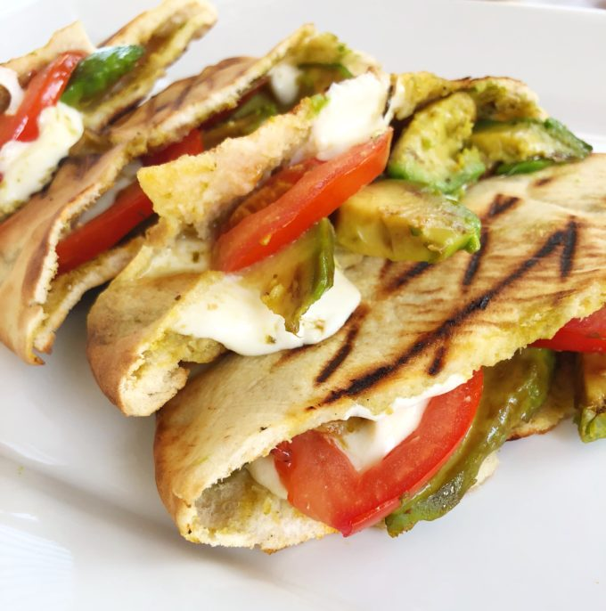Caprese Avocado Grilled Pitas from The Simply Vegetarian Cookbook