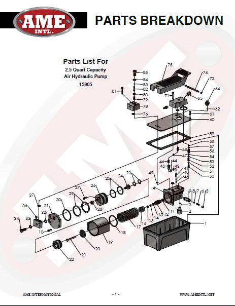 AME INTL 2.5 QUART TITAN AIR HYDRAULIC PUMP, 10,000 PSI