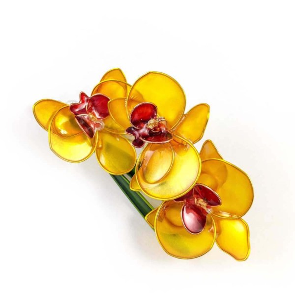 Golden yellow orchid brooch