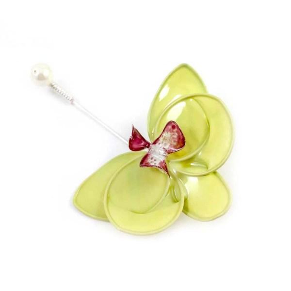 green orchid flower brooch