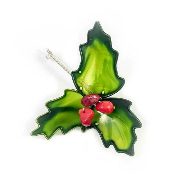 holly leaf christmas brooch