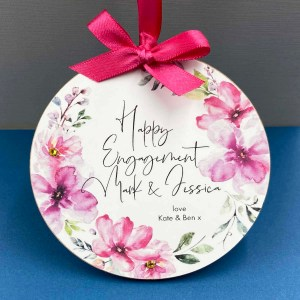 Personalised Engagement Floral Gift Plaque