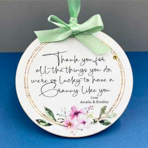 Thank You Granny Keepsake Hanging Plaque