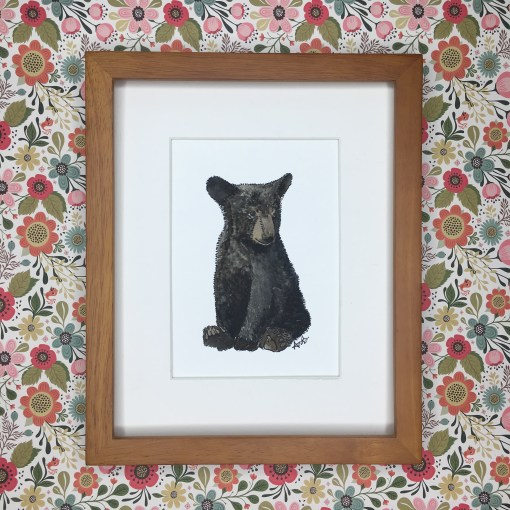 Baby bear watercolor art print