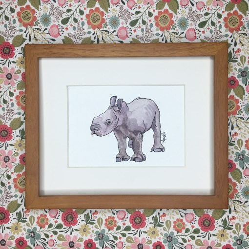 baby rhino watercolor art print
