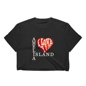 Amelia I Love You Short Sleeve Cropped T-Shirt Black