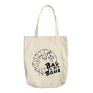 Bad to the Bone Bull Denim Cotton Tote Front Beige