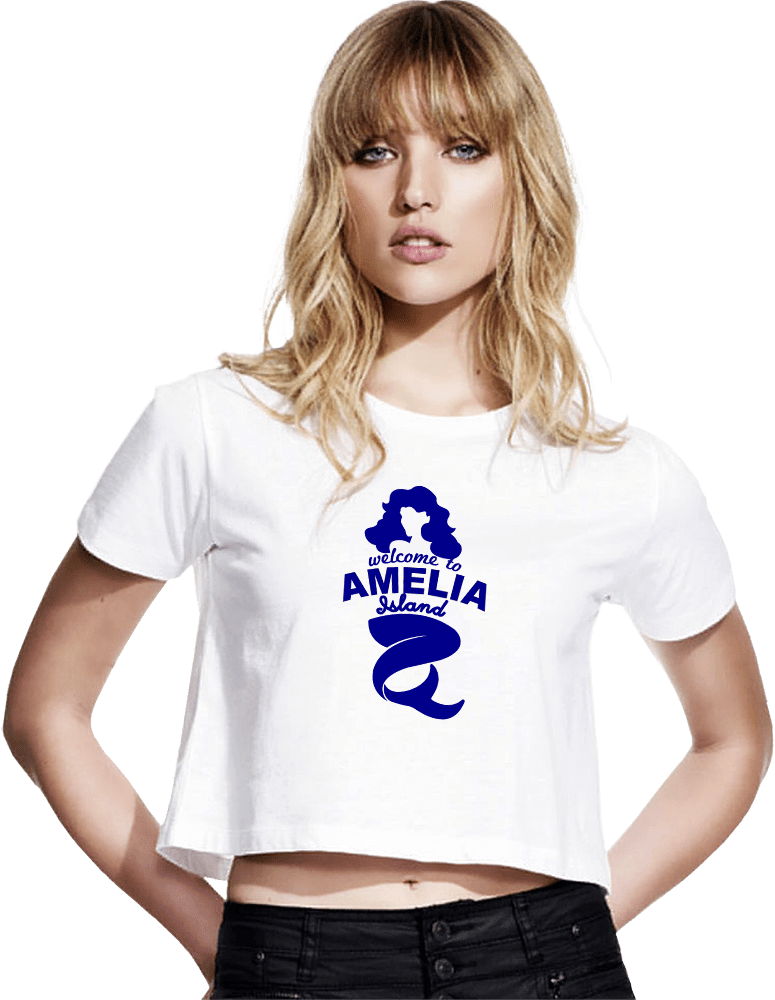 Welcome to Amelia Mermaid Short Sleeve Cropped T-Shirt Blond Woman Model