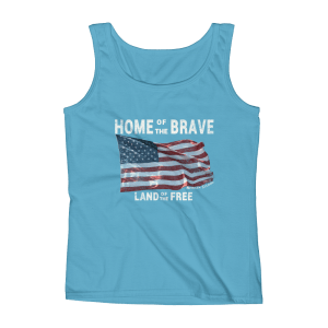Home of the Brave Land of the Free Missy Fit Tank Top Caribbean-Blue Cream Text