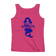 Welome to Amelia Mermaid Missy Fit Tank-Top Hot-Pink Blue text