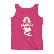 Welome to Amelia Mermaid Missy Fit Tank-Top Hot-Pink Cream text