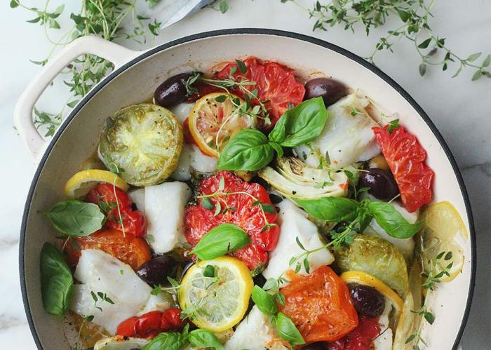 White Fish, Tomato & Fennel Tray Bake by Amelia Freer