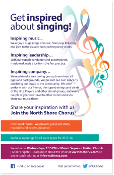 Recruitment poster for the North Shore Chorus.
