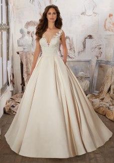 Marina - Exquisite Guipure Lace Appliqués and Trim Adorn the Bodice and Illusion Neckline of This Peau de Soie Satin Bridal Ballgown.