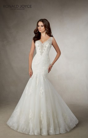 Adele - A FIT AND FLARE TULLE AND ORGANZA GOWN WITH A V NECKLINE, BEADED DETAIL, LACE APPLIQUES AND ILLUSION BACK