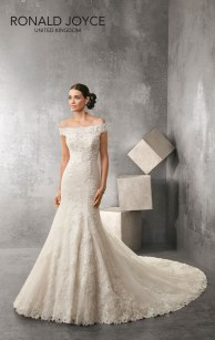 Ainsley - A BEAUTIFULLY DETAILED OFF THE SHOULDER LACE DESIGN WITH EXQUISITE ILLUSION BACK, DECORATIVE CRYSTAL BEADING AND SCALLOPED EDGING