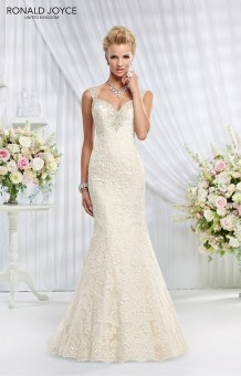 Elizabeth - LACE OVER SATIN WITH BEADED STRAPS, PLUNGE BACK AND TRAIN