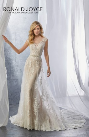 Jessie - A LACE AND CREPE SLEEVELESS GOWN WITH AN ILLUSION NECKLINE AND BEADED TIE BACK BELT