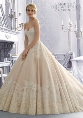 Style 2674 - Alencon Lace on Organza Wedding Dress with Wide Border Hemline