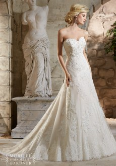 Style 2779 - Crystal Beaded, Alencon Lace Appliques on Net Over Chantilly Lace with Scalloped Hemline Lace Wedding Dress
