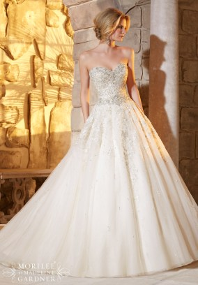 Style 2791 - Crystal and Diamante Beading Decorates the Intricate Embroidery on Tulle Wedding Dress