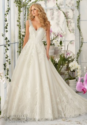 Style 2813 - Diamante Beading Edges on Tulle Wedding Dress with Embroidered Lace Appliques and Deep Scalloped Edging