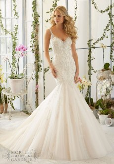 Style 2823 - Intricate Crystal Beaded Embroidery on Tulle Mermaid Wedding Dress