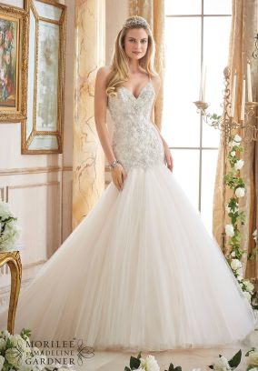 Style 2874 - Crystallized Embroidery on Tulle Wedding Dress