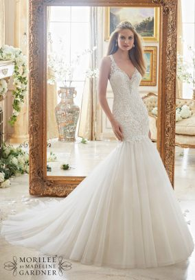 Style 2885 - Romantic Crystal Beaded Edging Meets Embroidered Appliques on Tulle Wedding Dress