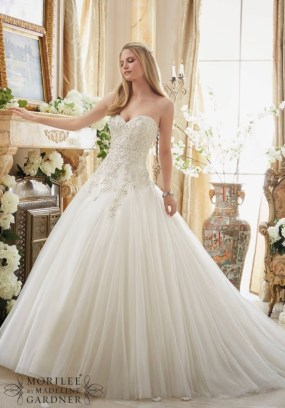 Style 2892 - Crystal Beaded Embroidery on Gored Tulle Cinderella Ball Gown Wedding Dress